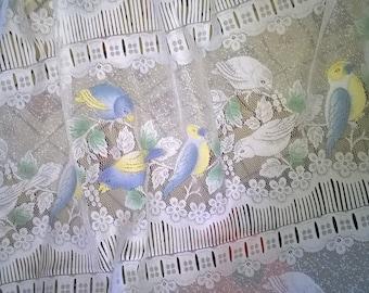 598) 1 pair of curtains bird motifs