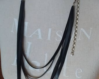 Long MULTISTRAND necklace in inner tube recycled and bronze chain - necklace White Pearl and bronze