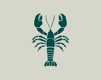 Lobster stencil. Lobster drawing (ref 347 GM)