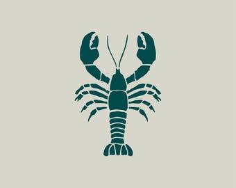 Lobster stencil. Lobster drawing (ref 347 GM)