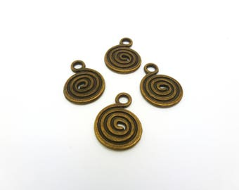"4 charms ethnic ""spiral"" 18 * 13mm bronze (PHBB05)"