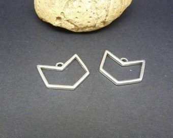2 charms chevron geometric 16 * 15 mm silver plated zamak (PPBA10)