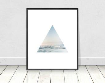 Cloud Art Print, Scandinavian Print, PRINTABLE Art, Minimalist Art, Triangle, Geometric Print,Scandinavian Poster,Home Decor,Wall Art,Clouds