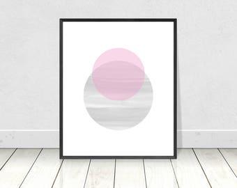 Pastel Wall Art, Abstract Geometric,Printable Art,Scandinavian Print,Nordic Print,Blush Print,Circles Print,Abstract Poster,Minimalist Decor