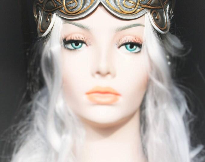 Tiara tiara Crown gold/silver tooled leather Fantasy fairytale