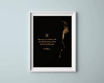 Carl Jung Quote, Printable Poster, Silhouette, Wall Decor