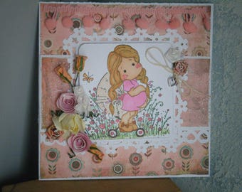 Pink birth card, little girl!