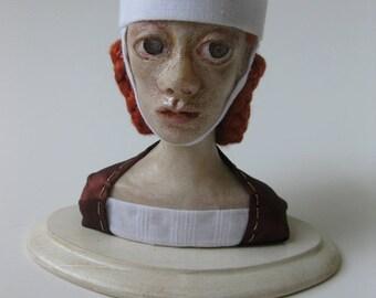 Mathilde, Fine art bust OOAK polymer clay collectible