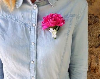 Women fabric flower brooch
