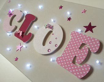 Bright fabric - light canvas name - letter wood girl baby - pink girly birth