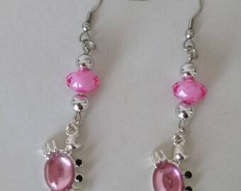 Pink crab earrings