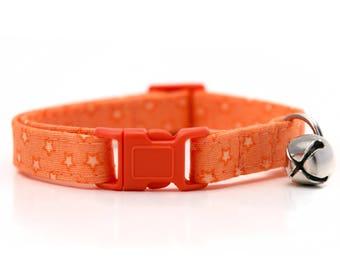 Orange with white stars Cat Collar with breakaway buckle