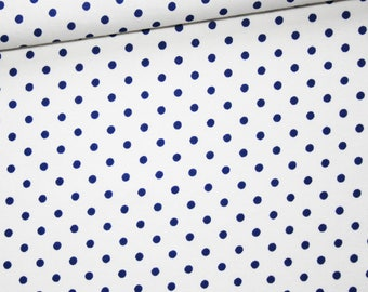 Fabric Navy blue dots on white, 100% cotton print 50 x 160 cm