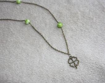 Bronze & green 4 leaf clover necklace