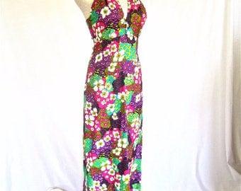 M 60s Halter Maxi Dress Long Beach Dress Floral Purple Pink Green Island Mod Tikki Hawaii Medium