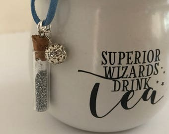 Harry Potter Necklace, Wizard Necklace, Unicorn Blood Necklace, Bookworm Necklace, Metal Stamped Necklace, Bookish Necklace, Quote Necklace