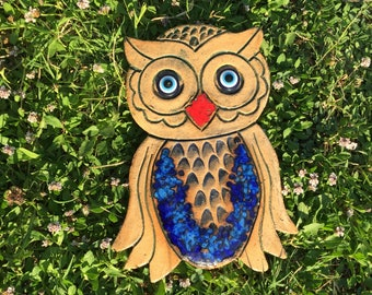 Big blue owl authentic ceramic wall decoration, rustic home decor, bohemian wall hanging, blue bird decor, vintage ceramic wall hanging, art