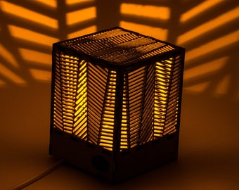 """Decorative cube lamp with """"Palm"""" pattern/Shadow lamp/Laser cut/Wooden lamp/Silhouette lamp/Night lamp/Plywood lamp/Eco-friendly lamp"""