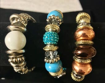 3 beaded bracelets - White, blue and Brown/copper