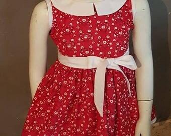 1 girl's dress. Peter Pan collar.  HAND MADE