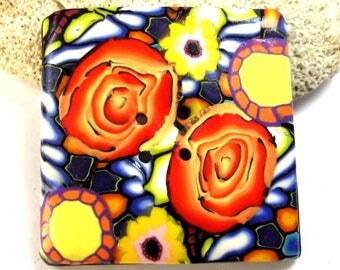 Sewing button square 4 cm: mosaics and orange roses.