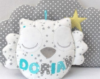 Owl cushion with child's name, please contact me before ordering