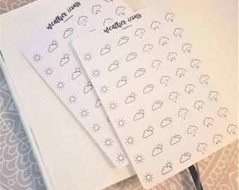 Weather Icon Stickers for your Planner and Bullet Journal