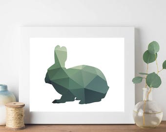 Green Geometric Bunny Print, Geometric Animal Print, Nursery Room Art, Bohemian Print, Hipster Print, Teen Room Decor, Brown Geometric Print