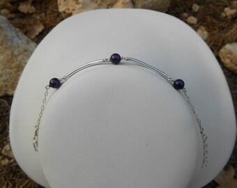 Bracelet silver tubes 925, Amethyst beads