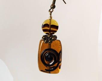 Earrings black ribbed amber glass beads
