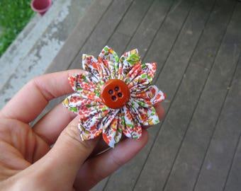 Cute Orange Fall Fabric Flower Hair Clip Hair Pin