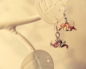 Colorful patterned origami crab earrings