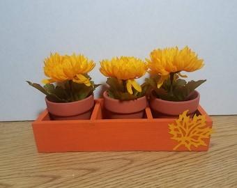 Fall Decorative Flower Box Centerpiece Arrangement