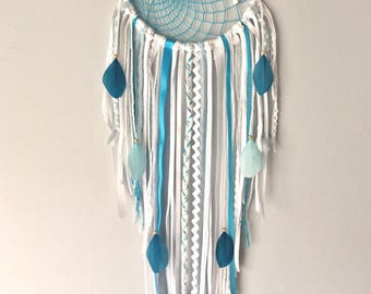 Dream catcher / Dream catcher white, cyan blue and turquoise