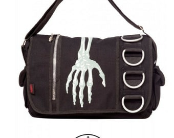 Skeleton Hand Handbag - Gothic skeleton skull Handbag D-Ring O-Ring