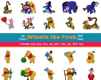 20 Disney Winnie the Pooh Machine Embroidery Designs, 4 Inch Hoop, Disney Embroidery, Eeyore, Tigger, Piglet, Pooh Bear, Instant Download