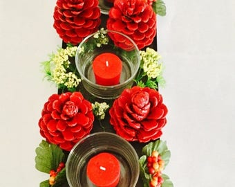 Centerpiece Red and Gold Pine Cones with candle holder