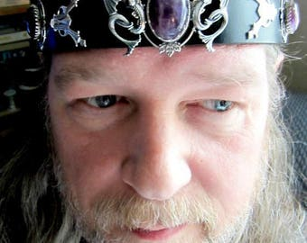 Dragons Headpiece, Mens Wedding Headpiece, Black Leather Headband, Burning Man, Mens Amethyst Headpiece, Renaissance Wedding