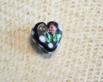 Handcrafted black Lampwork with a 15mm pink Lampwork heart bead