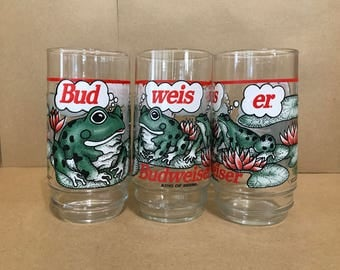 Set of 3 - 1995 Budweiser Frog Glasses - Bud-Weis-Er - Official Anheuser Busch Product