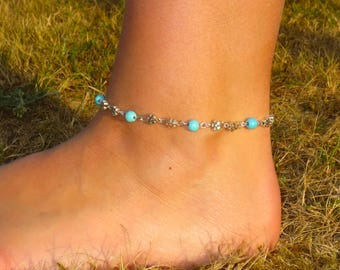 Semi Precious Turquoise Gemstone, Anklet, Antique Silver Flower/Daisy Beads, Bohemian, Festival, Beach, Holiday Anklet