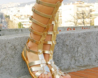 Spartan gold sandals, Leather gladiator sandals,Greek sandals for women  , Lace up sandals, Handmade gold leather sandal, Strappy sandal