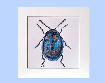 Blue beetle artwork, silver foil detail, painting of betel, insect painting, watercolour painting, art for him, original watercolour, 8 x 8