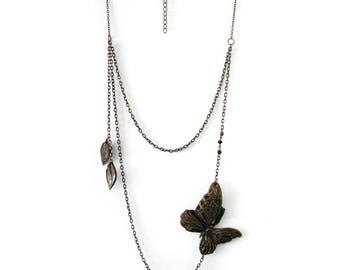 Bronze Butterfly Necklace Butterfly romantic necklace