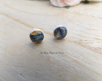 Earrings puce round Shiny