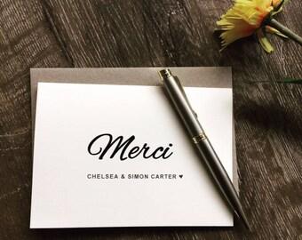 Thank You card wedding personalised, Wedding thank you card personalised, Merci card, Thank you card bulk
