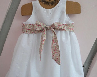 Eyelet christening gown belt liberty
