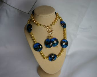 Blue and gold glass neclace and ematching earrings