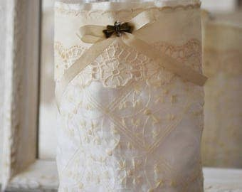 Purse shabby off-white veil embroidered