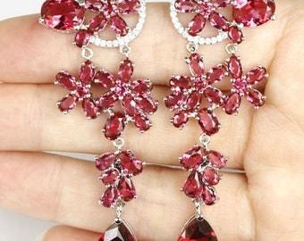 Rhodolite Garnet Chandelier spectacular earrings